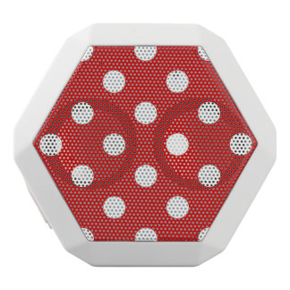 Red and White Polka Dot Pattern White Bluetooth Speaker