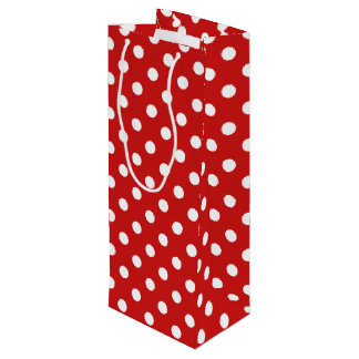 Red and White Polka Dot Pattern Wine Gift Bag