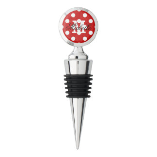 Red and White Polka Dot Pattern Wine Stopper