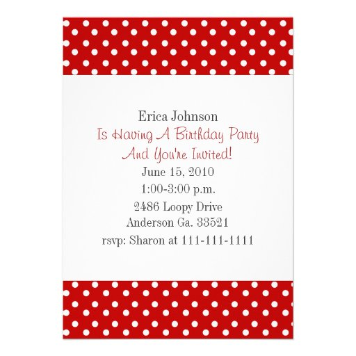 Red and White Polka Dot Print Party Invitation