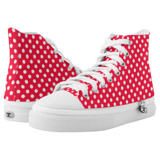 Red and white polka dot shoes printed shoes