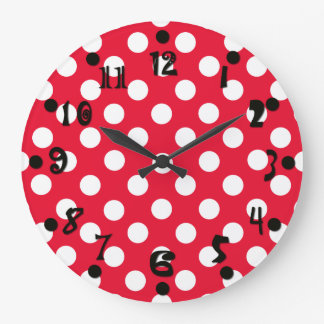 Red and White Polka Dot Wall Clock