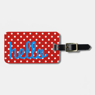 Red and White Polka Dot With Bright Blue Luggage Tag