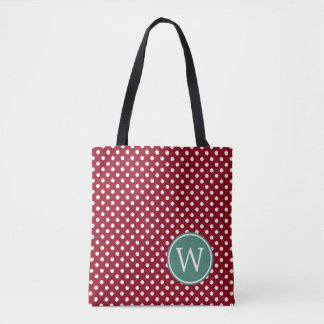 Red and White Polka Dot With Deep Teal Monogram Tote Bag