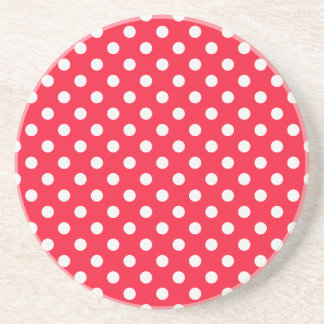 Red and White Polka Dots Drink Coasters
