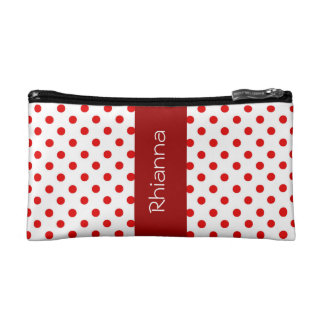 Red and White Polka Dots Custom Gift Item P034 Cosmetic Bags