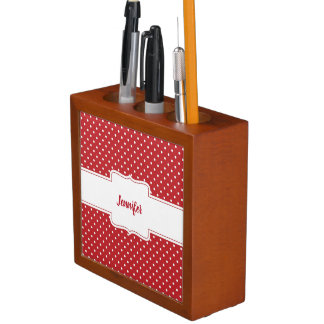 Red and White Polka Dots Desk Organizer