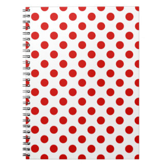 Red and white polka dots notebook