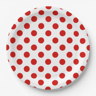 Red and white polka dots paper plate