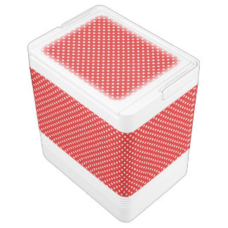 Red and White Polka Dots Pattern Cooler