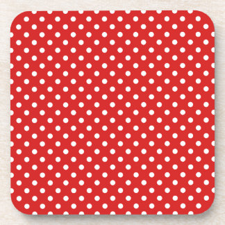 Red and White Polka Dots Pattern Drink Coasters