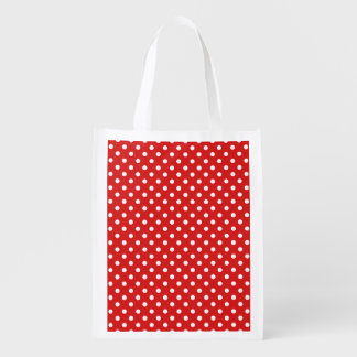 Red and White Polka Dots Pattern Reusable Grocery Bag