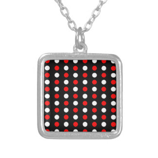 Red and white polka dots pattern silver plated necklace