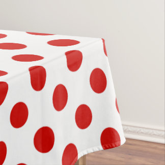 Red and white polka dots tablecloth