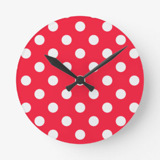 Red and White Polka Dots Wallclock