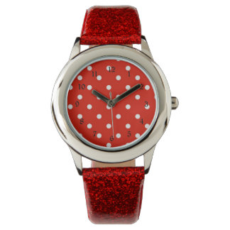 Red and White Polka Dots Wristwatches