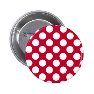 Red and White Polkadots Button