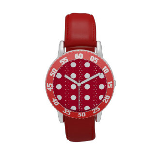 Red and white polkadots watches
