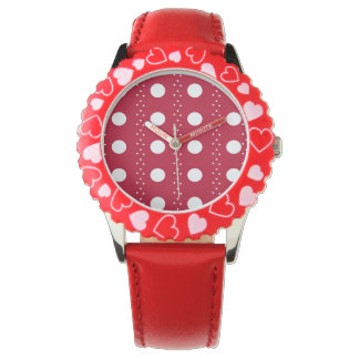Red and white polkadots wristwatches