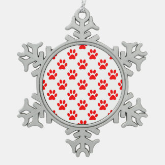 Red and white puppy paws pattern snowflake pewter christmas ornament