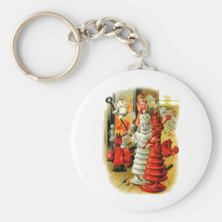 RED AND WHITE QUEEN IN WONDERLAND BASIC ROUND BUTTON KEY RING
