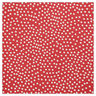 Red And White Random Polka Dot Spotted Print Fabric