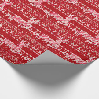 Red and White Reindeer Knit Sweater Look Wrapping Paper