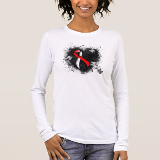 Red and White Ribbon Grunge Heart Long Sleeve T-Shirt