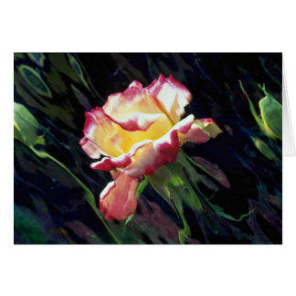 Red and white rose and buds, incandescent water gl greeting cards