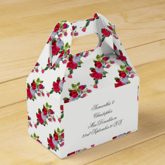 Red and white rose floral wedding bouquet party favour box