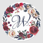 Red and White Rose Floral Wreath Monogrammed Classic Round Sticker