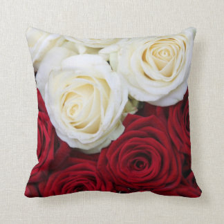 Red and white rose pillow throw cushion