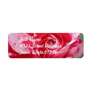 Red and White Rose Return Address Mailing Label Return Address Label