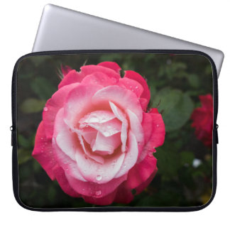 Red and White Rose with Raindrops Laptop Sleeve