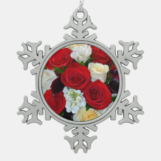 Red and white roses floral print snowflake ornamen snowflake pewter christmas ornament