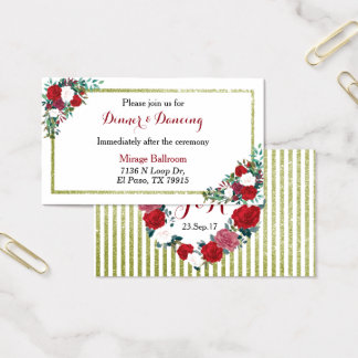 Red and white roses, gold glitter reception card