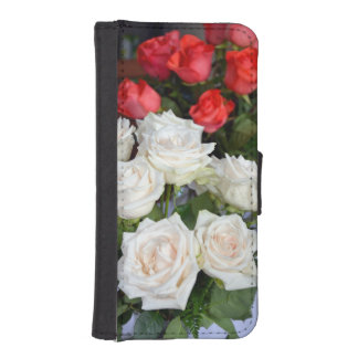 Red and white roses iphone wallet case