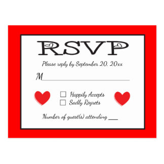 Red And White RSVP Hearts Wedding / Party Response Postcard
