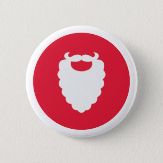Red and White Santa Beard Modern Holiday 6 Cm Round Badge