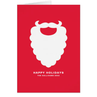 Red and White Santa Beard Modern Holiday Card