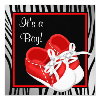 Red and White Shoes Red Zebra Baby Boy Shower 13 Cm X 13 Cm Square Invitation Card
