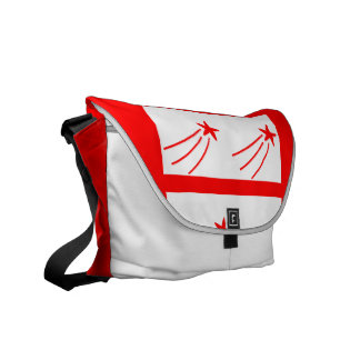 Red and White Shooting Star Messenger Bag