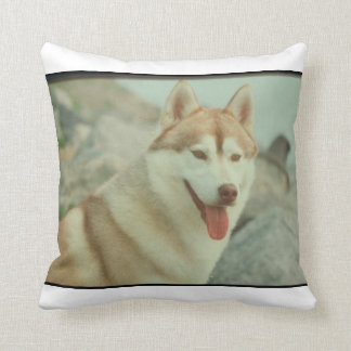 Red and White Siberian Husky MoJo Pillow Throw Cushions