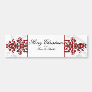 Red and White Silver Damask Bumper Sticker