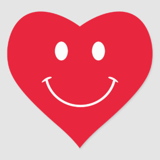 Red and White Smiley Face Heart Sticker