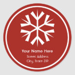Red and White Snowflake Address Label Sticker