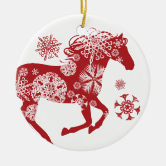Red and White Snowflake Christmas Horse Ceramic Ornament