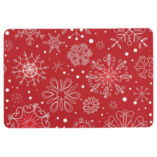 RED AND WHITE SNOWFLAKE FLOOR MAT