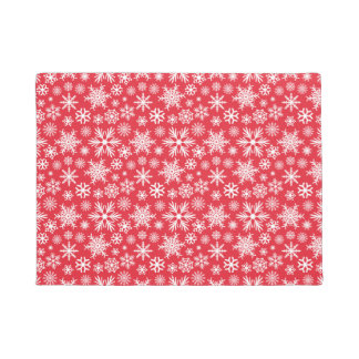 Red and White Snowflake Pattern Christmas Welcome Doormat