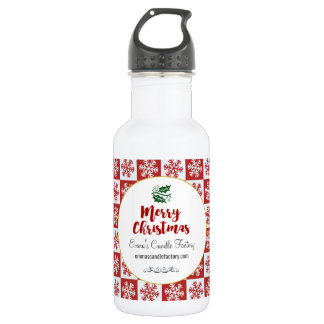 Red and White Snowflake Pattern Merry Christmas 532 Ml Water Bottle